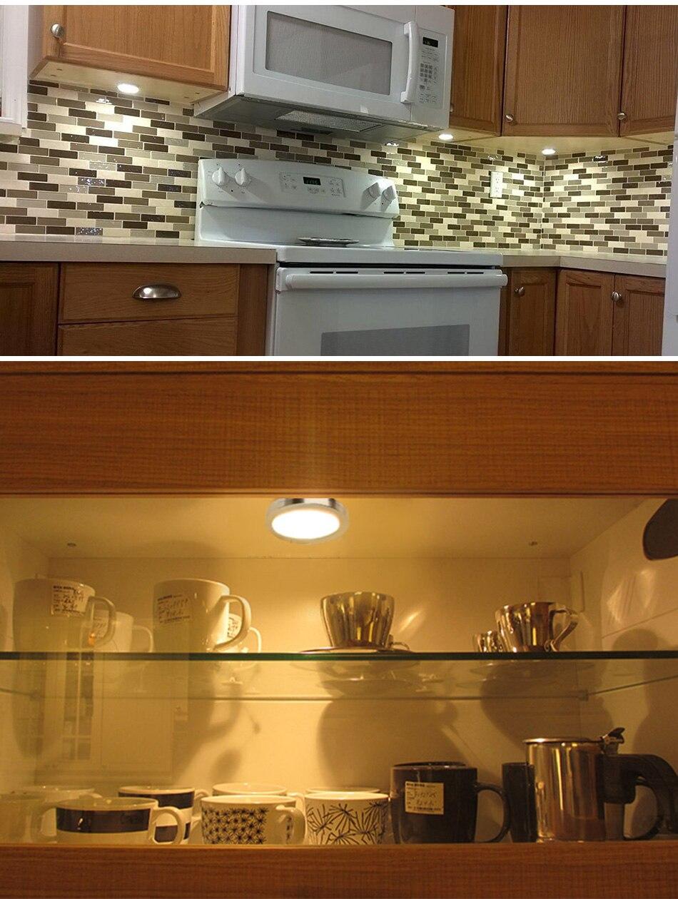 Under Cabinet Lights Puck Light 12V Round Aluminum Shelf Kitchen Closet Lamps LED Closet Lighting Night Showcase Counter Lamp (15)