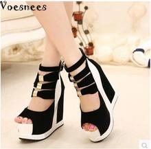 Women Platform Sandals 2015 Wedges 14cm Fish Mouth Color Matching Summer Sweet Woman Shoes High heel Sexy Ladies Shoes
