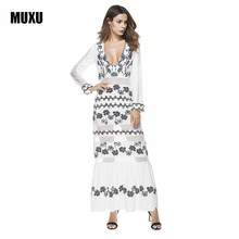 Buy MUXU long sleeve chiffon casual bohemian dress plus size summer maxi dress beach sexy long dress white floral womens clothing for $30.46 in AliExpress store