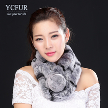 YCFUR New Style Real Fur Scarf Women Winter Handmade Knitted Natural Rex Rabbit Fur Scarves Wraps Female With Fur Pompom(China)