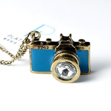 DoreenBeads 2016 Vintage Jewelry antique golden Long Chain Colorful Enamel Camera Pendant Necklaces Bijoux Women Top Selling(China)