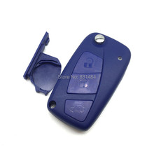 3 Buttons Flip Remote Key Case Shell  with battery holder on side for Fiat Blue color