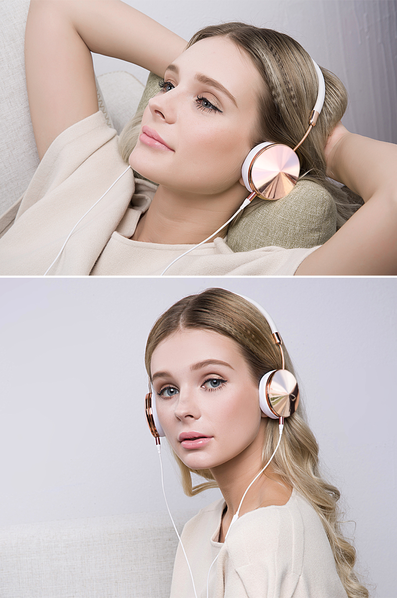Headband Wired Rose Gold Headphones for Girls with Mic Fone De Ouvido On-Ear Headset For iPhone Samsung Blanou BH868 Headphones 11