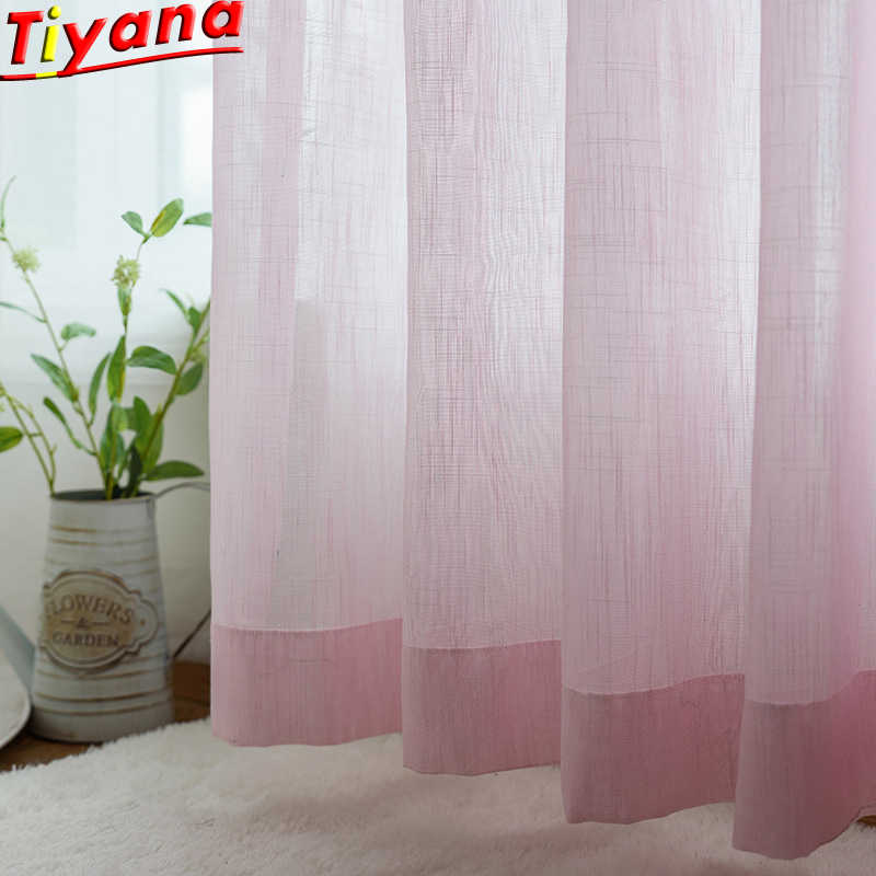 Nordic Hemp Slub Yarn Pink Screen Hotel Restaurant Kitchen Tulle Dedicated Sheer Curtains Decoracion Fiestas Moderno Su002#30