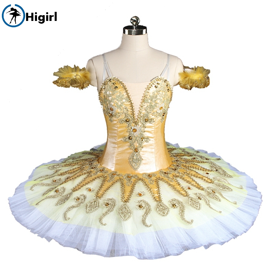 Yellow Fairy With White Tulle Professional Pancake Nutracker Tutus Women Sugar Plum Fairy Stage Costumes Tutu BT9134E