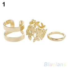 Hot 3Pcs Midi Finger Ring Set Silver Gold Stack Above Knuckle Band Rings 2 Colors  7GB5 BDS9