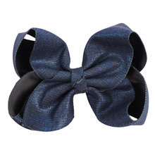 "2018 New 7"" Large Denim JoJo Bows With Clips For Kids Girl Handmade Denim Fabric Knot Jumbo Hair Bows Hairgrips Hair Accessories(China)"