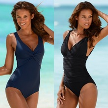 2017 Swimsuit Women One Piece Monokini Vintage Swimwear Slimming Bodysuit Female Black Bathing Suit Wide Strap Deep V Beach Wear