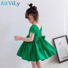 Children's dress 2017 New Summer girl baby V-neck short-sleeved dress baby princess Dress Toddler Dress baby Clothes Green Red