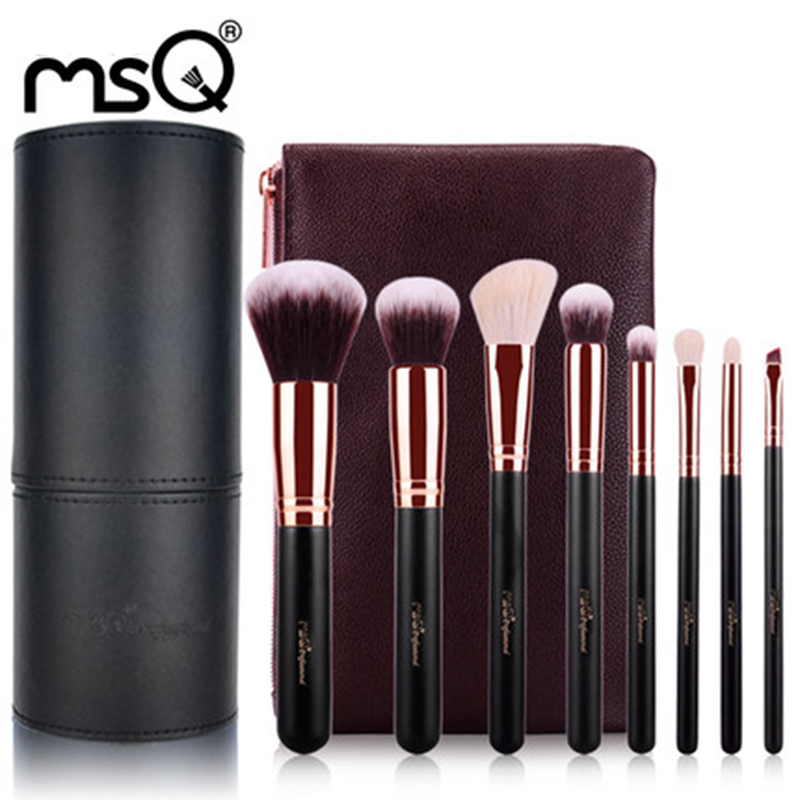 MSQ Black 8Pcs Brushes Set Professional Soft Makeup Foundation Brush For Eye Face Shadows Lip Liner Powder Make Up Tools Bag<br>