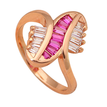 Wedding bands Gold color Crystal stone Health Fashion Jewelry Nickel & Lead Free Golden Element Ring Sz #6 #7 #5.75 JR1817A(China)