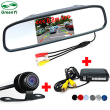"GreenYi 3in1 Dual Core Car Video Parking Sensor Visible Radar Assistance Monitor + Rear View Camera+4.3"" Car TFT Mirror Monitor(China)"