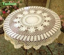 Luxury Lace Cotton Crochet tablecloth Table cloth towel mantel round flower handmade Table Cover De Nappe for wedding decor