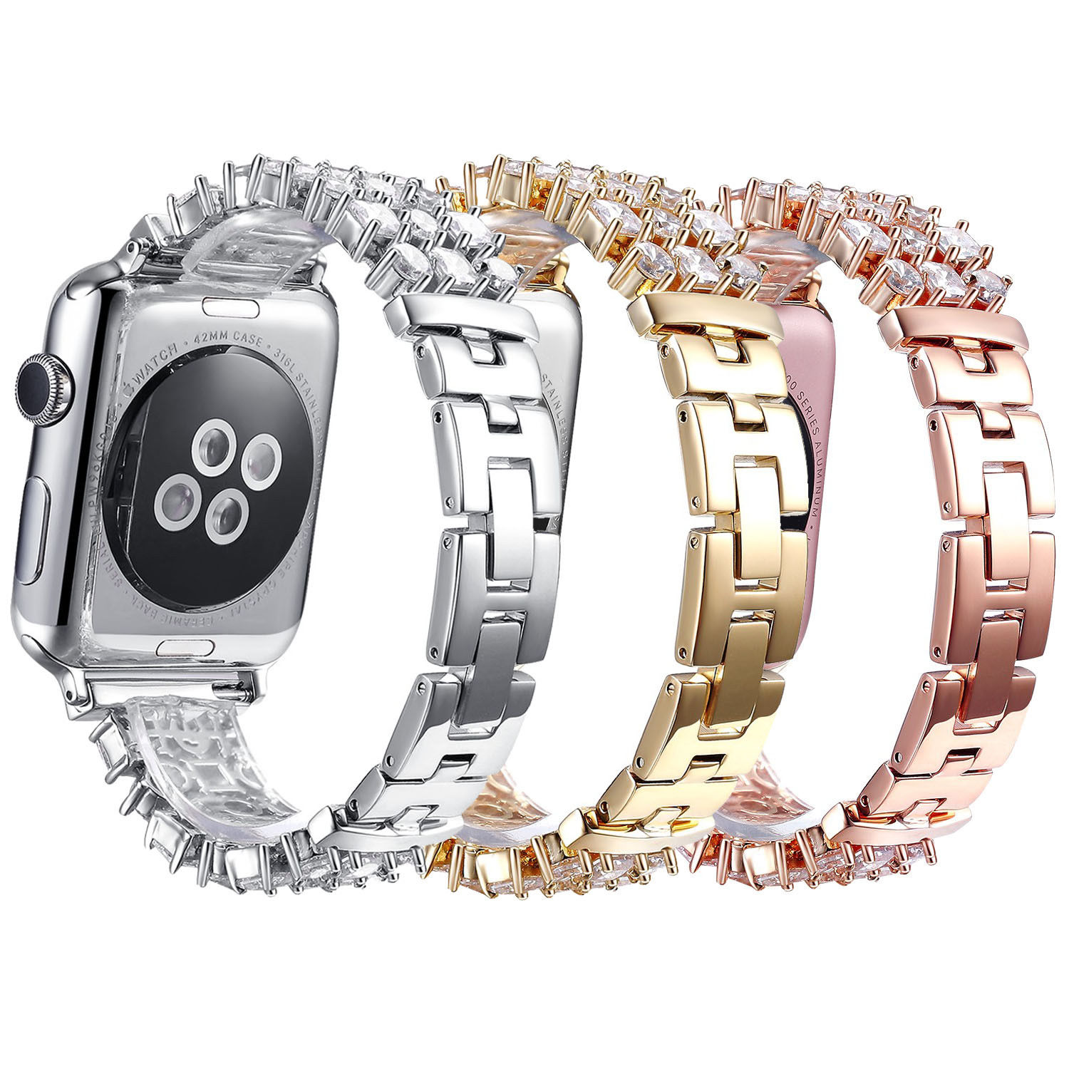 Glitter Bling Rhinestones Band for Apple Watch Series 3 2 1 Strap Stainless Steel Link Bracelet for iWatch Wristbands 38mm 42mm<br>