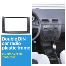 Seicane Double Din Car Radio Fascia for 2003 2004 2005 2006 Skoda Fabia DVD Car Frame Face Plate Panel Kit Trim Installation