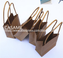15CM*10CM  Kraft Craft Paper handle shopping gift bags Paper birthday Designs of Party Bags