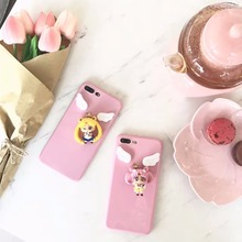 Yoneshone New Cute Cartoon Pink Sailor Moon 3D Funny Silicone Pink Phone Case Cover for iphone 7 7plus 6 6s Plus(China)