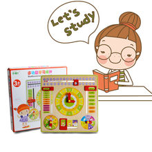 Mouths Clock Date Weather Week Season Puzzle Developmental Versatile Abacus Wooden Toys Baby Time Plan Maker Gift Wooden Toys(China)