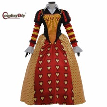 Alice In Wonderland Red Queen of Hearts Cosplay Dress Delux Fancy Party Cosplay Costume For Adult Women Halloween Custom Made(China)