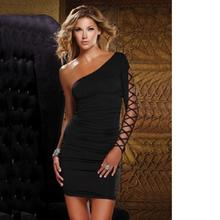 Women Evening Short Night Sexy Club Dress 2016 Vestidos Casual Free Shipping Mini Dress One Shoulder(China)