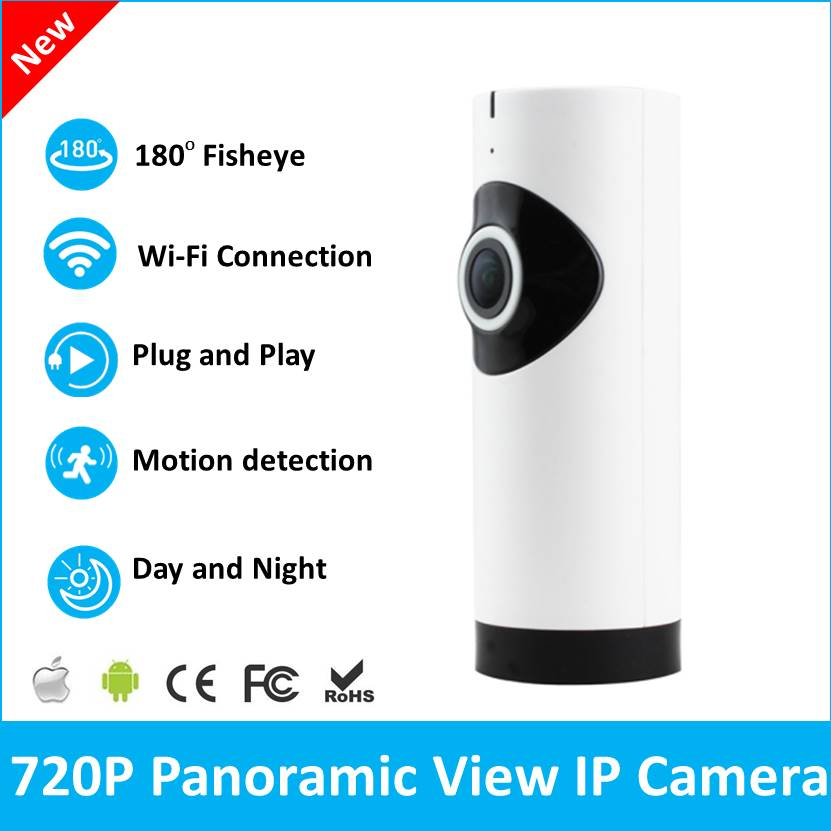 Fisheye CCTV Camera 180 Degree Wide Angle 720P HD Wireless Mini IP Camera Smart Security webcam Remote Control Panoramic Camera<br>