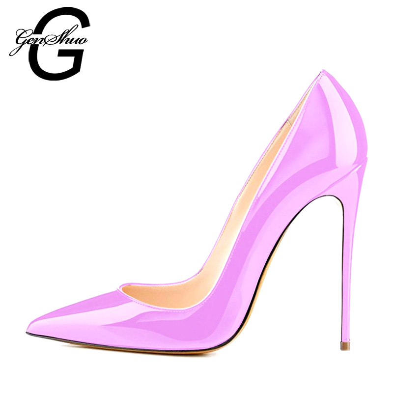GENSHUO Brand Shoes Woman High Heels Pumps Pink High Heels 8 10 12CM Women Shoes High Heels Wedding Shoes Pumps<br>