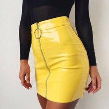 1735f07e3cb 2018 Sexy Pencil Skirts Women Zipper High Waist Skirt Solid PU Leather Skirt  Stretch Bodycon Short Mini Skirts 5 Colors