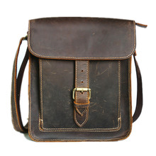 Men's Retro Casual Leather Bag Crazy Horse Leather Men Shoulder Bag Messenger Bag(China)