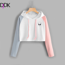 DIDK Alien Print Contrast Sleeve Graphic Hoodie Women Patchwork Long Sleeve Sporty Pullovers Sweatshirts 2017 Casual Sweatshirt(China)