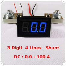 "RD 0.56"" Digital Ammeter dc 0-100A Four wires 3 digit Current AMP Panel Meter with Shunt led Display Color 3 pieces / lot](China)"