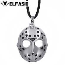 "Friday the 13th Jason's Mask Horror Men's Boy's Silver Pendant w/ 24"" Black Necklace Fashion Jewelry LP241"