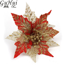 5pcs 20cm Beautiful Red Gold Transparent Glitter Artificial Flower For Christmas Tree Decoration New Year Party Pendant(China)
