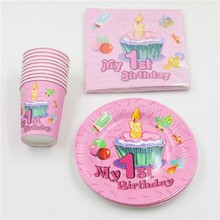 Kids Favors Napkins Baby Shower Happy Decoration Boy Girl 1st Birthday Party Paper Plates Cups Tablecloth Supplies 100pcs\lot