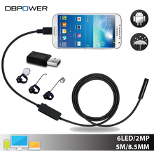 DBPOWER USB 2MP Endoscope Android 8.5MM Lens 2/5/10M Snake Camera IP67 Waterproof Inspection Borescope for Laptop with OTG/UVC