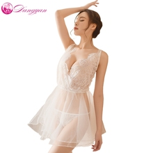 Buy Dangyan Plus Size Lingerie Sexy Hot Erotic Sex Underwear Women transparent Lace Mesh Babydoll Chemise Nightgown erotice Negligee