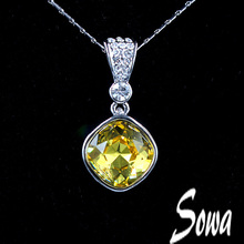 Free Shipping 2014 Top Sale Fashion Jewelry 15mm square light blue Big Shiny Crystal pendant necklace for perfume women