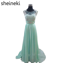 2017 Mint Green Chiffon Scoop Lace Cap Sleeve Beaded Bridesmaid Dresses Plus Size Summer Wedding Party Dress vestidos de festa(China)