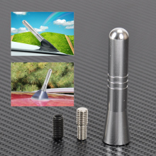 DWCX 6cm Silver Car Styling Stainless Steel Stubby Aerial Short Antenna For Ford C-MAX Edge Escape Explorer Fiesta Focus Fusion