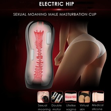 Leten 3 Dual motor Vibration Intelligent sexual moaning Electric male Masturbator cup,Artificial Vagina pussy Sex Toys for Men(China)