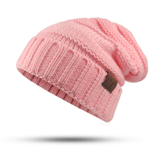 Winter Hat female Male Unisex knitted Skullies Casual Hat For Men Women CC labeling Solid pink Skullies Autumn Beanies Caps(China)