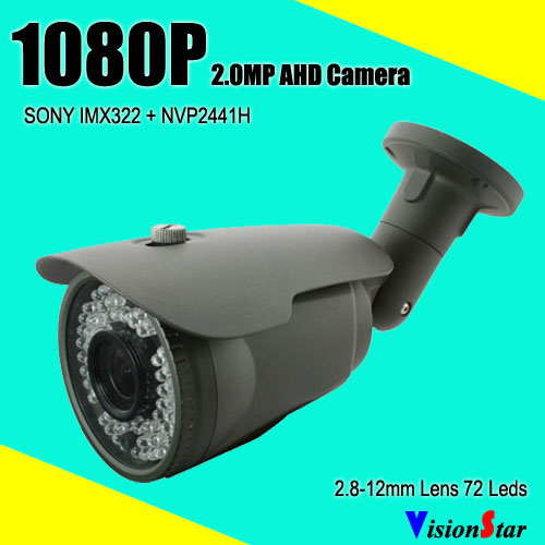 Sony imx322 AHD 1080p 2.0mp varifocal 2.8-12mm lens with osd menu bullet analog security camera<br>