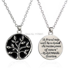 "Hot Selling  Engraved life Tree Necklace Letter ""A Friends May Well Blackboard  ""Necklaces Round Monogram Pendant Jewelry"