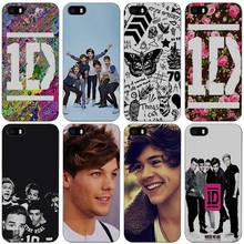 One Direction 1D Flower Logo Music Band Hard Black Plastic Case Cover for iPhone Apple 4 4s 5 5s SE 5c 6 6s 7 7s Plus(China)