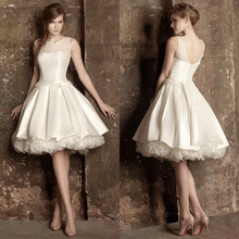 Sleeveless Ivory Taffeta And Tulle Ruffles A-Line Knee Length Wedding Dresses Bridal Gown Short 2016 Free Shipping
