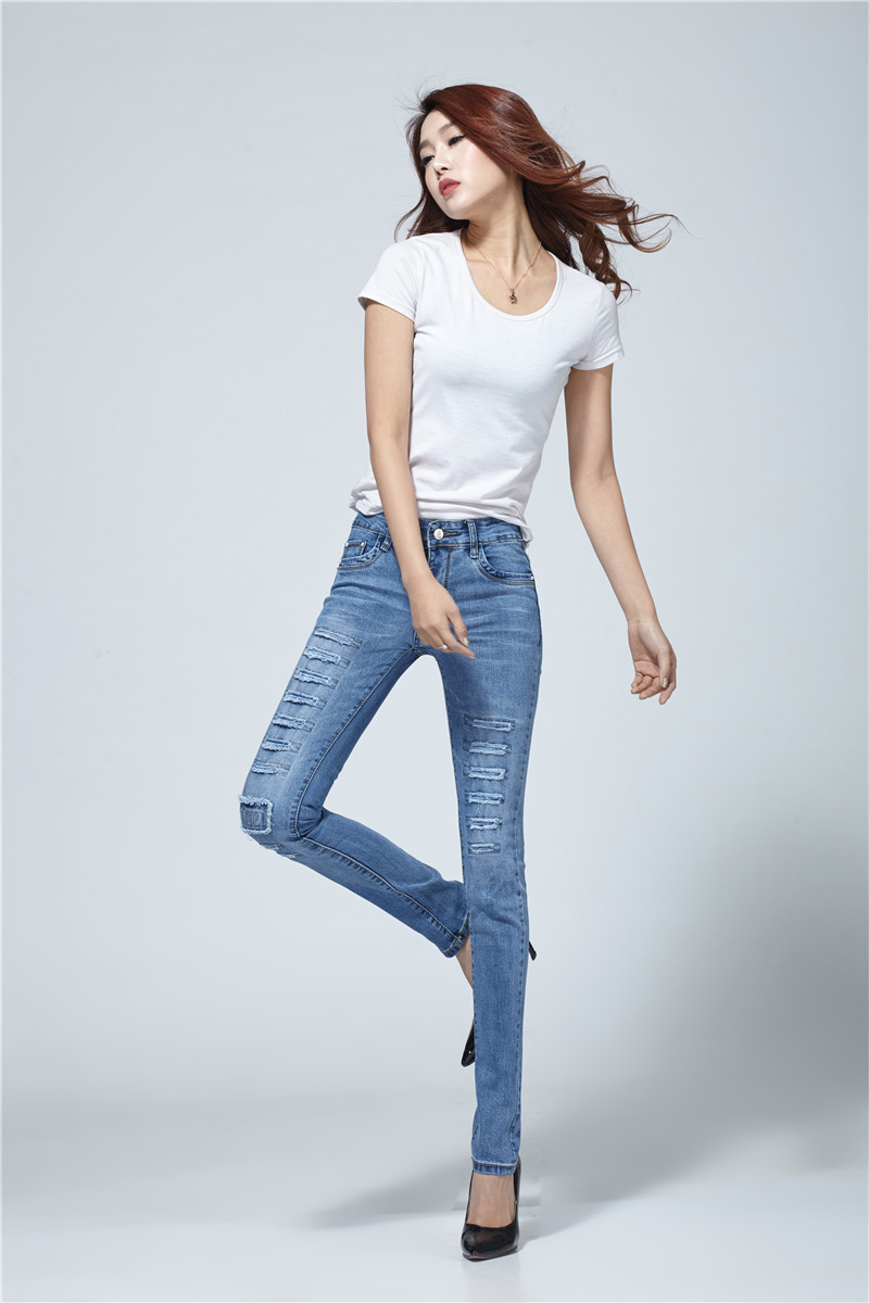 New Fashion 2017 High Elastic Cotton Womens Blue Mid Waist Torn Jeans Ripped Hole Knee Skinny Pencil Pants Slim Capris#BJ2219Одежда и ак�е��уары<br><br><br>Aliexpress