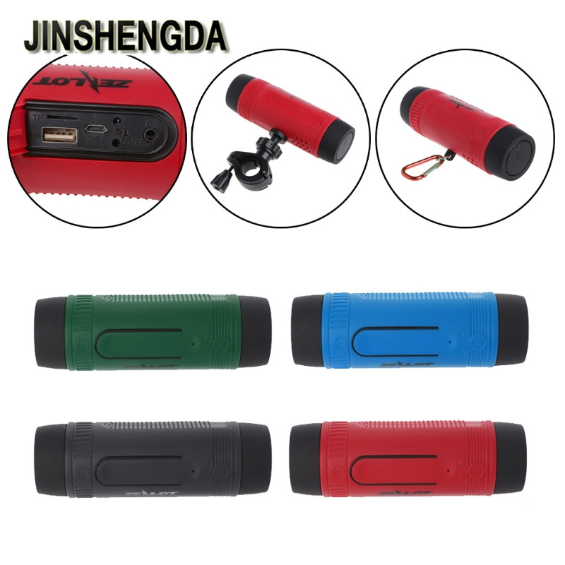 JINSHENGDA Bluetooth Speaker S1 Portable Waterproof Bluetooth Wireless Speaker Outdoor LED Flashlight TF FM Radio
