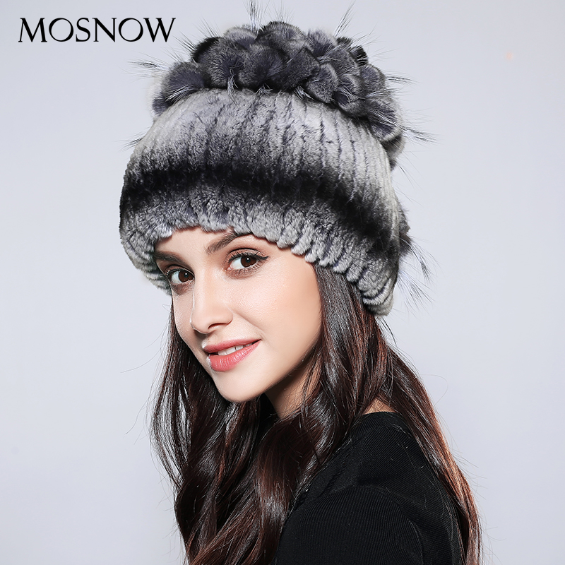 MOSNOW Hat Female Winter Women Vogue Real Rex Rabbit Fur Fashion Bow-Knot 2017 Brand New Wool Knitted  Beanie Bonnet Cap #PCM704Îäåæäà è àêñåññóàðû<br><br>