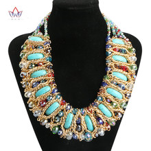 2017 Fashion Jewelry Sets for Women Crystal Choker Necklace Rhinestone Collar Multicolor Turquoise Statement Necklace WYA170