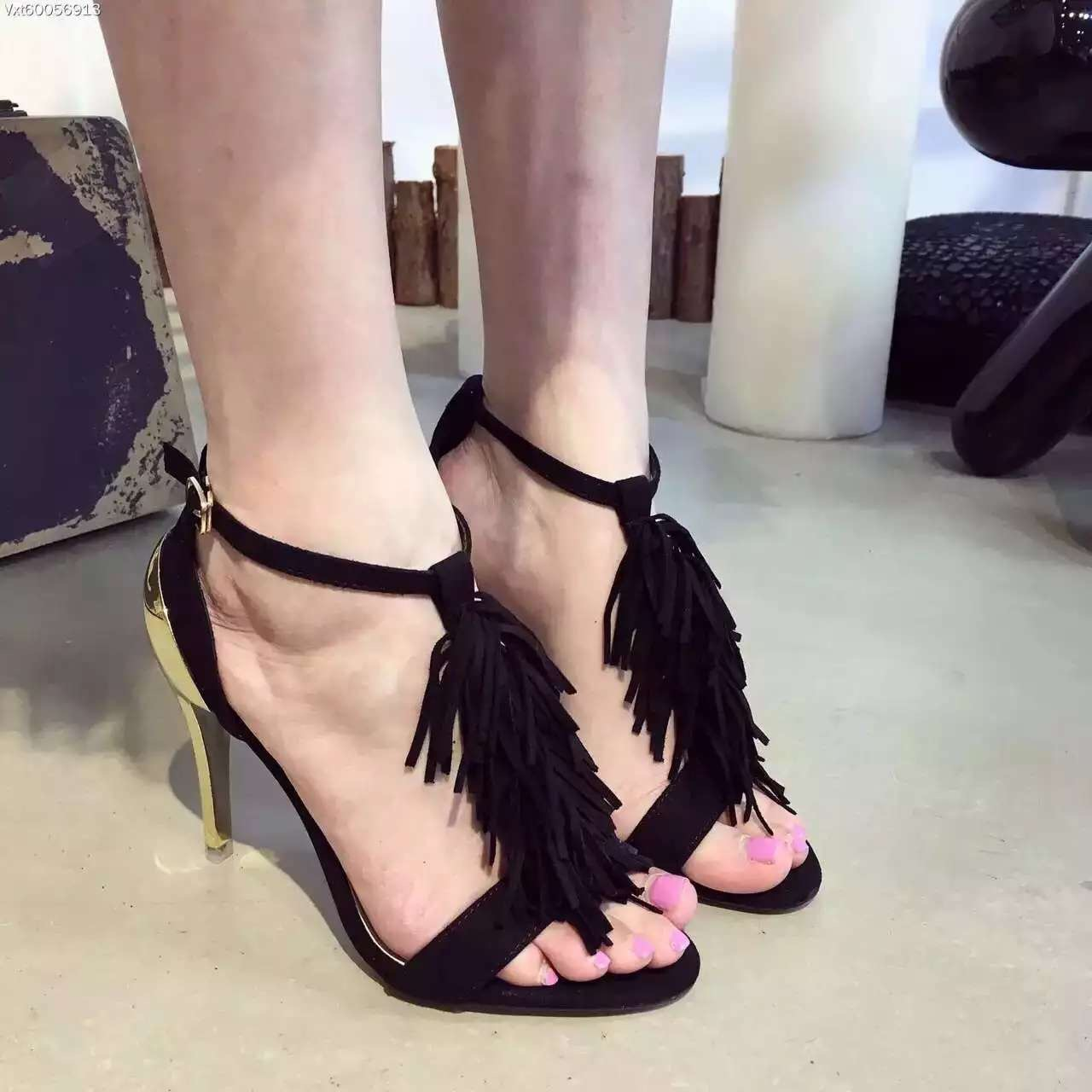 2017 Women Tassel Sandals 11 cm Gold Heel Sandals Open Toe High Heel Fringe Summer Shoes<br><br>Aliexpress