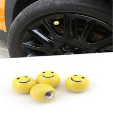 4Pcs/Lot New Yellow Smile Face Tongue Style Car Wheel Tire Valve Cap Tyre Dust Cap Cover For bmw benz toyota Volkswagen